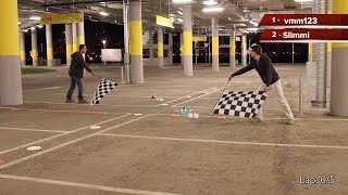 Drone racing championship in the underground parking in Moscow