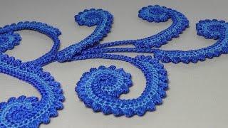 getlinkyoutube.com-Урок вязания крючком. ПЫШНЫЙ РАЧИЙ ШАГ. Завиток ирландское кружево. Irish lace.