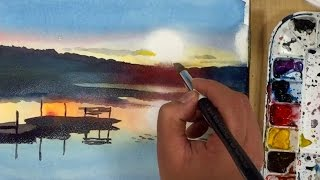 getlinkyoutube.com-Painting watercolor landscape of a sunrise lake