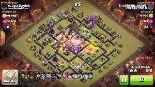 getlinkyoutube.com-9홀완파 풀방타 완파 골위발벌 교육용(헤이아치 특공대 ) Clash of clans - Town hall 9 (th10) war GOWIVALbal
