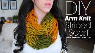 getlinkyoutube.com-DIY Arm Knitting - 30 Minute Striped Infinity Scarf