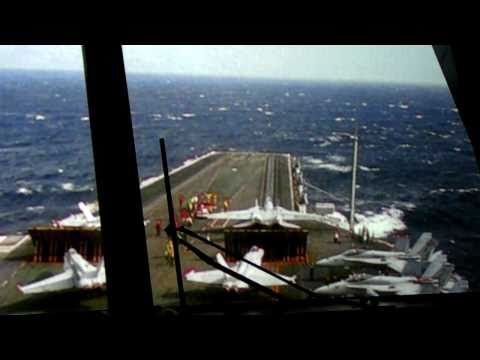 HD Fighter Jets take-off from Aircraft Carrier as Seen from the Bridge Double Launch Navy