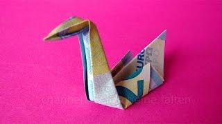 getlinkyoutube.com-Geldschein falten Schwan: Ideen zum Geldgeschenke basteln - Origami Tier falten mit Geld