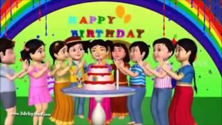getlinkyoutube.com-Happy birthday to you - 3D Animation English rhyme for children wirh lyrics kids songs
