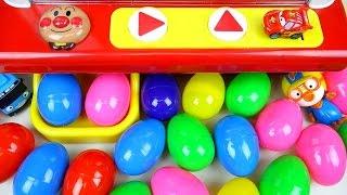 getlinkyoutube.com-Surprise eggs & toys Crane game Cars Tayo Pororo 서프라이즈 에그 뽀로로 호빵맨 인형뽑기 장난감