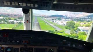getlinkyoutube.com-BAE Jetstream 41 Cockpit View Landing @ Medellin Rwy 02 // SKMD //