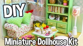 getlinkyoutube.com-DIY Miniature Dollhouse Kit Cute Room with Working Lights!  Family Hall Roombox
