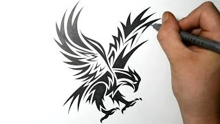 getlinkyoutube.com-How to Draw an Eagle - Tribal Tattoo Design Style