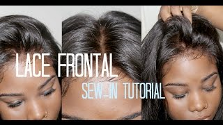 getlinkyoutube.com-♡ How to Sew-in Your → Lace Frontal  *NO HAIR OUT*