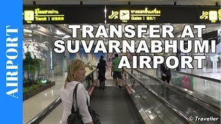 getlinkyoutube.com-Suvarnabhumi Airport in Bangkok - transit walk to Bangkok Airways connection flight to Koh Samui