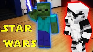 getlinkyoutube.com-Monster School in Real Life Episode 14: Star Wars! The Force - Minecraft Animation