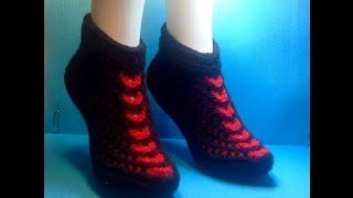 Вязание спицами тапочки -следки #40