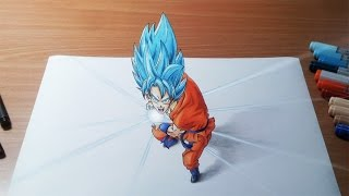 getlinkyoutube.com-Drawing Goku Super Saiyan Blue Kamehameha in 3D