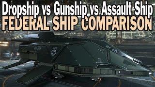 getlinkyoutube.com-Elite: Dangerous. Federal Dropship vs Assault Ship vs Gunship. Federal Ship comparison