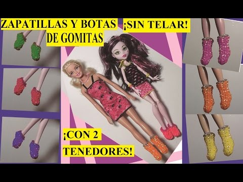 Como hacer zapatillas o botas de gomitas sin telar para muñecas Barbie o Monster High con tenedores