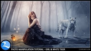getlinkyoutube.com-Girl & The White Tiger - Photoshop Manipulation Fantasy Effect Tutorial