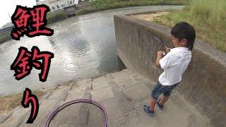 getlinkyoutube.com-釣り場で会った男の子が鯉を釣り上げるシーン
