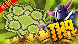 """getlinkyoutube.com-Clash Of Clans - """"PUSH TO TITANS"""" Town Hall 9 (TH9) - Trophy Base - Air Sweeper 2015"""
