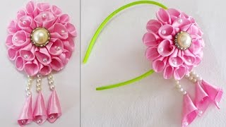 getlinkyoutube.com-DIY for Girls : How to Make Kanzashi Beads Satin Ribbon Flower | Hair Accessories