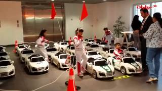 getlinkyoutube.com-Kids Driving Audi R8s to learn road safety rules.