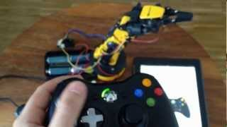 getlinkyoutube.com-Robot Arm with Xbox Controller - ARDUINO UNO