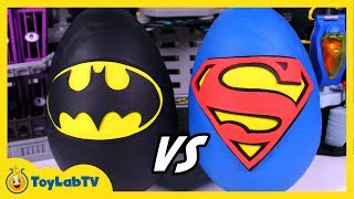 getlinkyoutube.com-GIANT Batman vs Superman Play Doh Surprise Eggs with DC Comics Superhero Toys from ToyLabTV