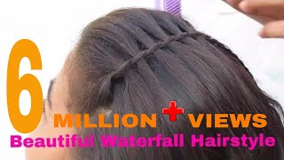getlinkyoutube.com-Beautiful Waterfall Hairstyle | Simple Hairstyle