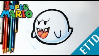 How to Draw Boo from Super Mario Bros - Easy Things To Draw