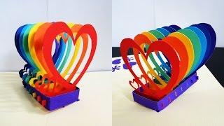 getlinkyoutube.com-Pop up card (rainbow hearts) - learn how to make a popup heart greeting card - EzyCraft