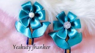 Satin ribbon flower hair clip