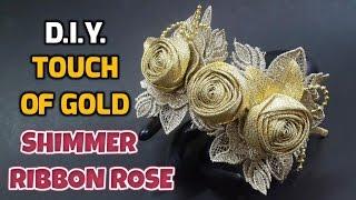 getlinkyoutube.com-D.I.Y. Touch of Gold Shimmer Ribbon Rose   MyInDulzens