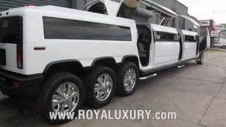 getlinkyoutube.com-Triple Axle H2 Hummer JET DOOR limo - ROYAL LUXURY LIMOUSINE