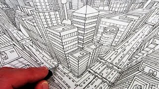 getlinkyoutube.com-How to Draw a City in Three-Point Perspective