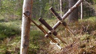 getlinkyoutube.com-Primitive Survival Trap - The Feather Spear Trap.