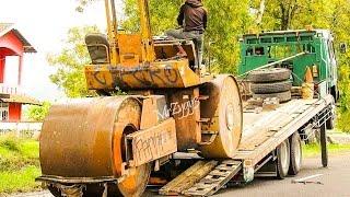 getlinkyoutube.com-Fuso Self Loader Truck Moving Tandem Asphalt Road Roller Compactor Sakai