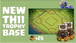 getlinkyoutube.com-Clash of Clans - *NEW* TH11 Trophy Base! + 25 new Walls (5600+ Trophies)