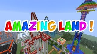 getlinkyoutube.com-Minecraft [Map: AMAZING LAND! ] Présentation du parc d'attraction avec Goaling !