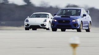 getlinkyoutube.com-2015 Subaru WRX STI vs. 2014 Porsche Cayman | STANDING MILE