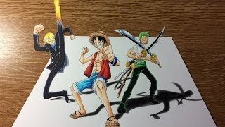 Drawing the Monster Trio - Luffy, Zoro, Sanji in 3D