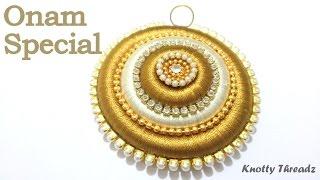 getlinkyoutube.com-Onam Special : How to make a Pendant using Silk Thread at Home | Tutorial