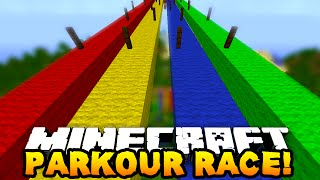 getlinkyoutube.com-Minecraft 1v1v1 RAINBOW PARKOUR RACE! w/PrestonPlayz, Vikkstar123 & MrWoofless