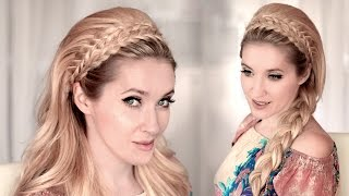 getlinkyoutube.com-Braided headband hairstyle tutorial for medium/long hair ❤ 60s big teased hair for wedding/prom