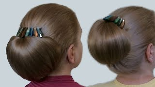 "getlinkyoutube.com-Updo Hairstyles| Bun with Hair Bow for Long Hair| Hairstyle ""Babette""