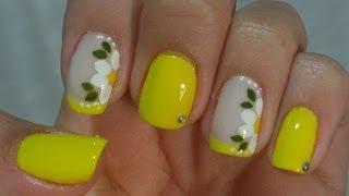 getlinkyoutube.com-Unhas Express Decoração em Amarelo com Flor Manual Bela e Simples Nail Art