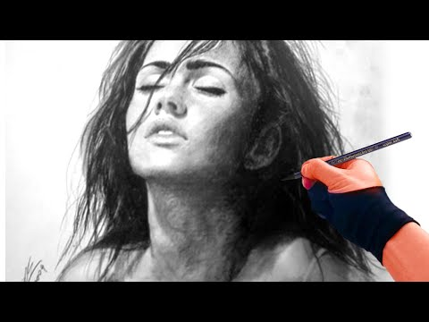 Megan Fox speed drawing with charcoal by hand  - ThePortraitArt