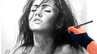 getlinkyoutube.com-Megan Fox charcoal Portrait Drawing video - ThePortraitArt