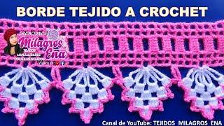 getlinkyoutube.com-Borde, puntilla o orilla tejida a crochet para colchitas o mantitas para bebe paso a paso