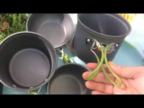 G4Free Outdoor Camping pan Hiking Cookware Backpacking Cooking Picnic Bowl Pot Pan Set 4