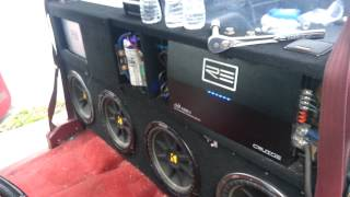 "getlinkyoutube.com-Four 12"" subwoofers in Chevy Single Cab New RE Audio amps installed"