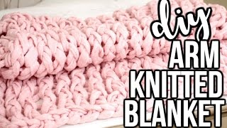 getlinkyoutube.com-DIY ARM KNITTED BLANKET TESTED - How To Arm Knit A Blanket